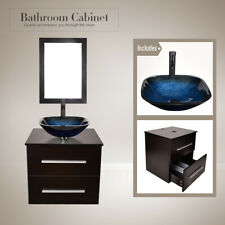 24'' Bathroom Floating Vanity Cabinet Wall Mount Vessel Glass Square Sink Combo