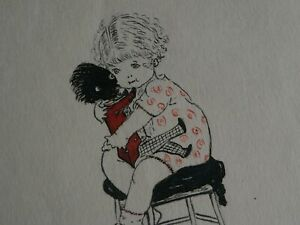 ORIGINAL MABEL LUCIE ATTWELL STYLE 1920s SIGNED INK & WATERCOLOUR SKETCH - TOY.