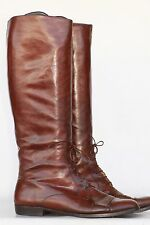 Beautiful Salvatore Ferragmo brwn leather equestrian riding boots 11 Made ITALY!