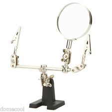 2.5X JEWELRY HELPING HAND MAGNIFIER with 2 ALLIGATOR CLAMPS SOLDERING 3rd HAND