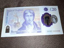 More details for polymer note £20 - solid serial number - da67 222222 - banknote twenty