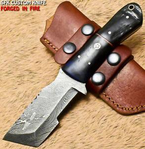 SFK Handmade Damascus Steel Ram's Horn Hunting Skinner Knife