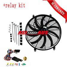 16 INCH 12V Low Profile Chromee High Performance Thermo Fan+Mounting Kit+relay