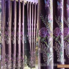 luxury noble embroidered peony purple cloth blackout curtain tulle drape B728*