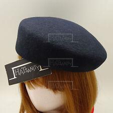 Vintage Fieltro de Lana Mujer Casquete Sombrero Cadete Militar Aire Azafatas