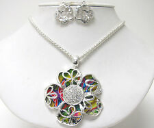 Pendant Necklace & Earrings Set New Crystal Large Multicolor Flower