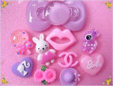 DIY Mix 10pcs Large glitter Purple bow  phone case cabochon kawaii Deco Kit Set