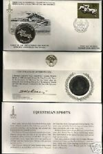 RUSSIA 1980 MOSCOW OLYMPIC EQUESTRIAN SILVER UNC COIN + FDC STAMP CCCP USSR