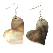 REAL OYSTER SHELL MOTHER OF PEARL MELTING HEART EARRINGS HAND MADE PINK NATURAL.