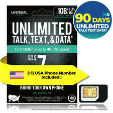 USA 90Day UNLIMITED DATA TALK TEXT Prepaid Travel SIM Card UNREAL Mobile Sprint