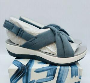 CLOUDSTEPPERS by Clarks Women's Arla Belle Jersey Sport Sandals Blue Grey 6.5M