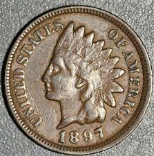 1897 1c INDIAN HEAD CENT, GRADE VF+, SKU-2422