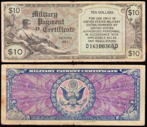 *SCARCE* Military Payment SERIES 481 $10 MPC! FREE SHIPPING! D16100368D