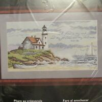 """Bucilla Counted Cross Stitch Kit 43476 Lighthouse at Dusk 15"""" x 8"""" New Sealed"""