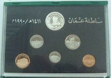 OMAN 6 Coins 1990 AH1410 Proof Set with Silver KM PS5