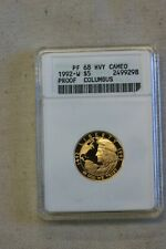 1992-W Proof Columbus Commemorative Gold Coin $5 ANACS PF 68 Proof DCAM