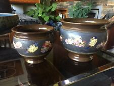 More details for pair of vintage bretby jardinieres with enamelled and painted birds and flowers