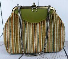 Vintage Green Faye Mell Design Frame Handbag Purse 60s Velveteen & Tissue Pouch