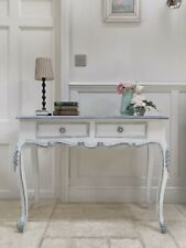 Vintage French Style Painted Grey Cream Console Hall Dressing Side Table