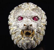 14k Yellow Gold Finish Ruby & Diamond Lion Ring Mans Engagement Band