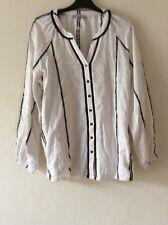M&S Per Una 100% Cotton Long Sleeves Top Blouse SIZE UK 12 EUR 40 NEW!