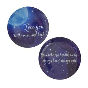 Trinket Dishes Love You To The Moon & Back Blue Glass Take My Breath Away Stars