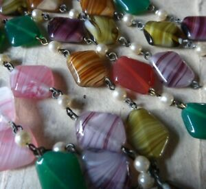 "vintage 23"" long multi colour glass 2 stranded bead necklace 1970s -D414"