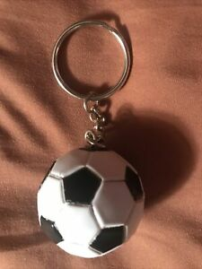 32 Panel Black And White Soccer Or Futbol Ball Keychain.
