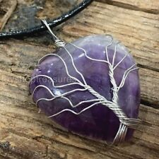 Amethyst Tree of Life Necklace Gemstone Pendant Crystal Healing Heart Leather