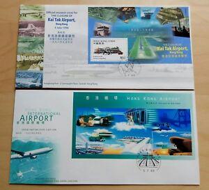 China Hong Kong 1998 Old Kai Tak & New Airport 1 Pair FDC 中国香港启德机场关闭+国际机场启用纪念封2个