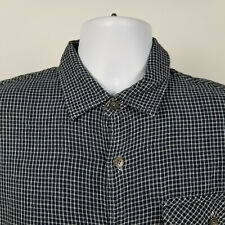 Carbon2Cobalt Mens Dark Blue White Mini Check Flannel Dress Button Shirt Medium