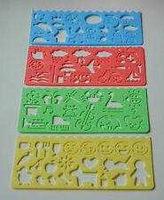 CRAFT STENCILS 4 DESIGNS CARD MAKING CHILDRENS ART PLASTIC NEW 4 pieces