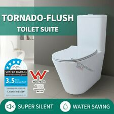 Bathroom Wall Faced Tornado Silent Dual Flush Toilet Suite Soft Close Seat WELS