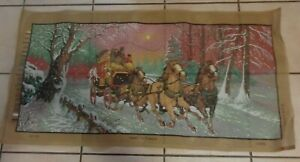 """LARGE TAPESTRY CANVAS PRINT 120cms x 60cms-MADE GREECE """"SNOW STAGECOACH HORSES"""