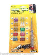 Tool 6-24 DC Volt Auto Car Voltage Tester Screwdriver 10pcs Fuse Electrical Pen
