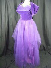 Vtg 50s Purple Velvet Strapless Tiers Tulle Party Dress w/Bolero-Bust 34/XS-S
