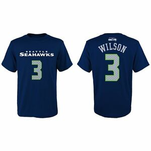 Seattle Seahawks NFL Russell Wilson #3 Navy Youth Name and Number T-Shirt, med