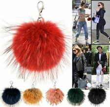 CELEB INSPIRED NEW FLUFFY REAL FUR POMPOM BAG CHARM WOMENS KEYRING CHAIN