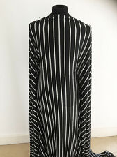 Black/Cream Fringe Effect Striped Devore Jersey Dressmaking Fabric