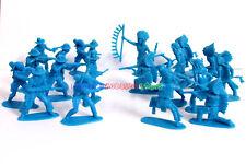 New Indians & Cowboy 4.5cm Figures (30pcs) Plastic Army Men Toy Soldiers Blue
