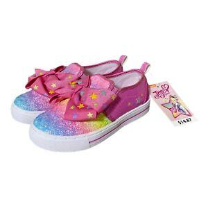 NEW Jojo Siwa Pink Shoes Glitter Rainbow Sneakers Bows Slip On Girls 11 Ombre