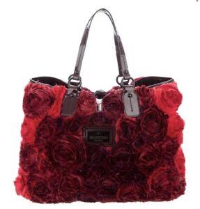 VALENTINO ROSIER RED FLOWER TOTE BAG