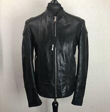 £870 Just Cavalli Mens Black Padded Shoulder Lambskin Leather Biker Jacket L /XL