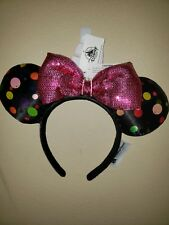 NEW Disney Parks Mickey Minnie Mouse Pink Sequin Bow Polka Dot Ears Headband 805691fb45bf