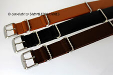 20mm BRACELET NATO US ARMY STYLE MILITAIRE BAND CUIR STRAP wrist watchband