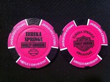 Harley Davidson Poker Chip (NEON Pink & Black) Eureka Springs AR NEW DEALER