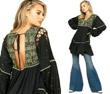 Free People Much Love Tunic BOHO Top V-Neck Balloon Sleeves Black XS NEW