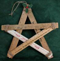 Vintage Rulers STAR Christmas OOAK Decoration Handmade Cocoa Cola Advertising ~
