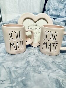 Rae Dunn Valentines Day Bundle 2 Soul Mate Mugs Heart Photo Frame Hold 4x6 Photo