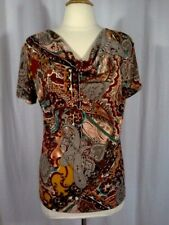 SIZE M - New $40.00 DRESSBARN Paisley Cowl Neck Brown Teal Sienna Top Blouse
